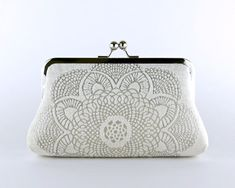 Brocade Velvet Crochet Doily Clutch Wedding bag by EllenVintage, $65.00