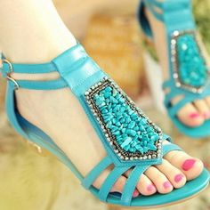 Amazing Turquoise Flat Sandals with Pearl Decoration. 1cd8eeb3f