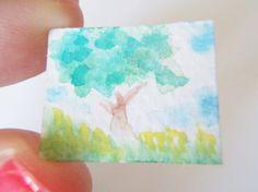 albero verde miniatura dipinto panorama acquerello natura mini quadro pianta 1:12 animale casa di bambole collezione regalo lasoffittadiste