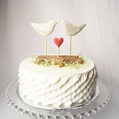 Rustic Wedding Cake Topper Beach Cake Topper by WoodenHeartButtons