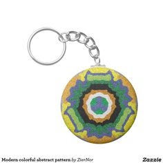 Modern colorful abstract pattern basic round button keychain