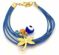 """Multistrand Blue Evil Eye Bracelet with Golden Dragonly Charm StarShine Jewelry. $9.98. Lobster clasp closure. Accented with golden dragonfly and glass evil eye beads. Comes in resealable bag for adequate storing. Length: 6.5"""" - 8"""". Made with multistrand blue cords"""