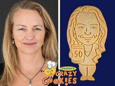 Make your wife's 50th birthday memorable with custom cookies by Parker's Crazy Cookies. So easy to personalize and order...just download a photo and the magic begins!