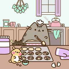 My bff baking pusheen and stormy Gato Pusheen, 4 Panel Life, Nyan Cat, Kawaii Doodles, Gif Animé, Cute Cartoon Wallpapers, Diabolik Lovers, Kawaii Cute, Cute Illustration