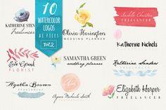 10 Watercolor Logos Vol2 by Webvilla on Creative Market