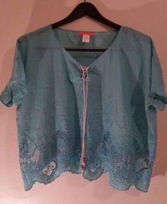 Banjup Shirt embroidered Light Blue Large L, Kimono Sleeve Solid 100% cotton  #Banjul #Blouse Only $6.99 + shipping