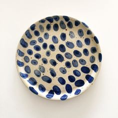 Blue patterned Polli Pots plate, made by Eeli-Ethel Polli, available at eeli.dk #pollipots #plate #pottery #blue white #pattern