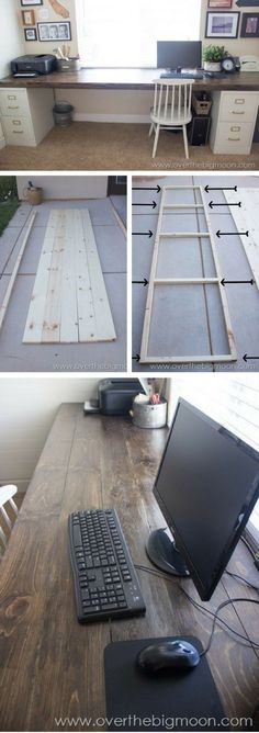 How to build a # DIY desk from filing cabinets and wooden planks., How to build a # DIY desk from filing cabinets and wooden planks. # file barriers # build # a # wooden planks. Home Office Design, Home Office Decor, Diy Home Decor, Diy Office Desk, Office Table, Hone Office Ideas, Office Setup, Small Office, Office Chairs