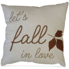 """Homewear Let's Fall In Love 20"""" Square Decorative Pillow, ($51) ❤ liked on Polyvore featuring home, home decor, throw pillows, tan, leaf throw pillows, square throw pillows, homewear and taupe throw pillows"""