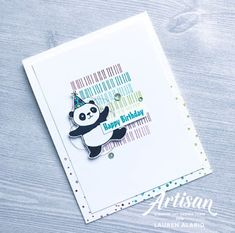 Party Panda Eclectic Expressions Birthday Card (Crafty Little Peach) Balloons And More, Panda Party, Beautiful Handmade Cards, Animal Birthday, Animal Cards, Scrapbook Cards, Scrapbooking, Kids Cards, Cool Cards