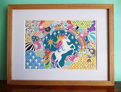 Rainbow Unicorn A4 Papercut Giclee Art Print by HouseOfAlphonse