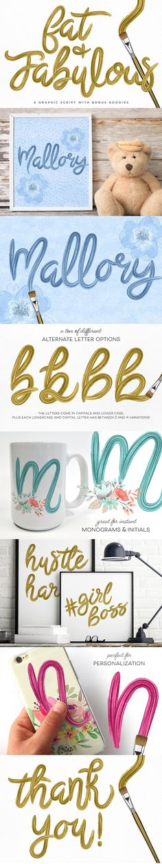 Fat & Fabulous: Graphic Brush Script - Script. gold paint calligraphy inspired! perfect for all your holiday designs and printables!