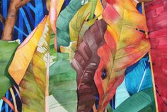 "New Painting.....Art Original Watercolor Painting Hawaiian ""TROPICAL LEAVES"""