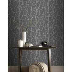 Rasch Allure Tree Twig Branch Pattern Silver Glitter Wallpaper 309720