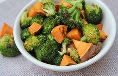 Zoete aardappel met broccoli en sinaasappeldressing