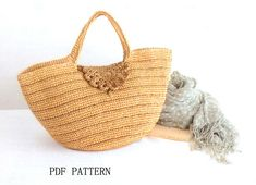 Download PDF padrão, saco de ráfia padrão verão, praia de bolsas de crochê padrão