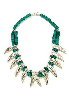 nOir beaded horn necklace