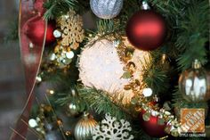 """Red and Gold Ornaments & """"Super Sphere"""" Christmas Lights"""