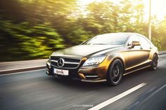 Cool Mercedes: Mercedes CLS ≠ Bond Gold Matt Metallic  by Giannis Kokkas, via Behance...  CAR-ON-LOCATION Check more at http://24car.top/2017/2017/07/19/mercedes-mercedes-cls-bond-gold-matt-metallic-by-giannis-kokkas-via-behance-car-on-location/