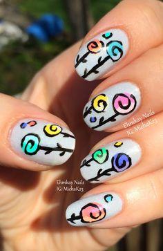ehmkay nails: Whimsical Lollipop Flowers Nail Art