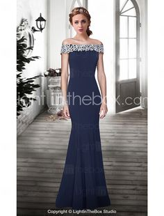 Formal Evening Dress - Dark Navy Plus Sizes / Petite Trumpet/Mermaid Off-the-shoulder Floor-length Lace 2016 – $119.99