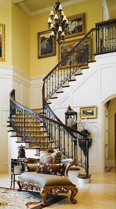 Unique Home Architecture — Tuscan Foyer Staircase, Staircase Design, Curved Staircase, Winding Staircase, Staircase Ideas, Beautiful Interiors, Beautiful Homes, Iron Stair Railing, Banisters