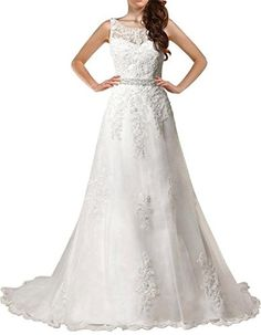 PrettyBridal Womens Long Aline Bridal Gowns Wedding Dresses For Bride 2016 White 4 -- You can get more details by clicking on the image.