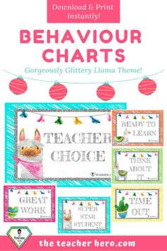 Teacher Resource - Llama Behaviour Chart - The Teacher Hero. Classroom Behavior Management, Behaviour Management, Classroom Organisation, Behaviour Chart, Classroom Rules, Kids Behavior, Classroom Displays, Classroom Themes, Preschool Behavior