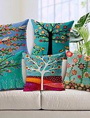 ensemble de cinq beau coton de fleur arbre / linge taie d'oreiller d... – CAD $ 107.02