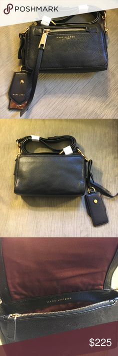 Marc Jacobs black leather crossbody bag Marc Jacobs black leather crossbody bag. Never worn. 8 inches by 5 inches. 21 inch adjustable strap drop. Gold hardware. New without tags Marc Jacobs Bags Crossbody Bags