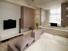 Apartment, Purple Sofa Purple Cushions Black Wall Tv Wall Downlight White Pendant Lamp White Bed Glass Flower Vase Light Wood: Best Designing Ideas For Your Studio Type Apartment