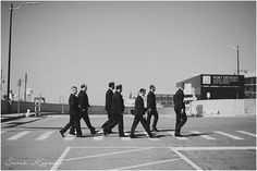 Groom with groomsmen, walking across street, Port Detroit, Detroit Riverfront, Detroit Yacht Club Wedding, Belle Isle, Metro Detroit Wedding, The Knot Top Pick, Sarah Kossuch Photography