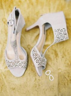Chic laser cut wedding heels