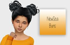 The Sims 4 Mody: NewSea Buns- wersja dla dzieci od Fabienne Sims 4 Toddler Clothes, Sims 4 Children, 4 Kids, Play Sims 4, The Sims 4 Cabelos, Pelo Sims, Sims Hair, The Sims 4 Download, Sims 4 Game