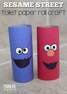 Elmo and Cookie Monster from a simple toilet paper roll kids craft