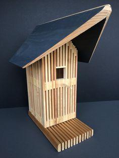 Unique Cedar Birdhouse, Modern Wood Bird House, Outdoor Bird Home, Handmade…