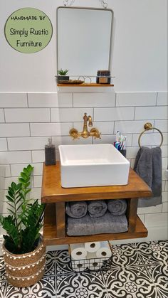 The nest wash stand sink unit hand crafted rustic bathroom vanity unit Wooden vanity Industrial with brackets shelving shelf Small Bathroom Sinks, Bathroom Vanity Units, Small Sink, Rustic Bathroom Vanities, Small Toilet, Family Bathroom, Small Bathroom Ideas, Sink Vanity Unit, Modern White Bathroom