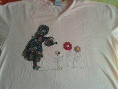 Bordado em camiseta, patch aplique mais bordado a mão