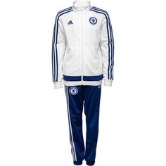 Adidas junior cfc #chelsea 3 #stripe poly tracksuit white/#chelsea blue rrp #54.99,  View more on the LINK: 	http://www.zeppy.io/product/gb/2/131992064085/