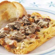 Spaghetti Pizza Casserole Recipe from Taste of Home -- shared by Kim Neer of Kalamazoo, Michigan