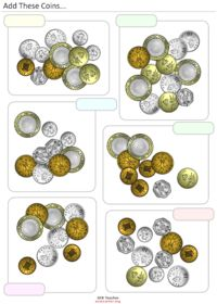 Feuilles d'addition d'Monnaies