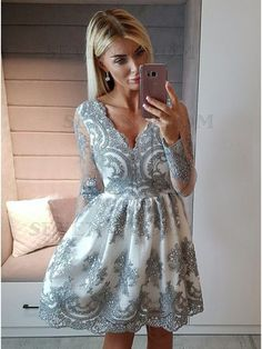 Long Sleeves Homecoming Dress, Gray Homecoming Dress with Long Sleeves, Short Prom Dress with Appliques, Elegant Party Dress with Beaded