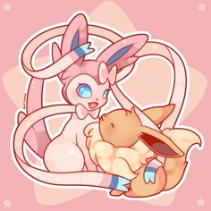"""seviyummy:  """"Sylveon & Eevee  I hope you like it!                        If you like my work and you want to support me, you can do it on Patreon ❤ ❤ https://www.patreon.com/user?u=2849182&ty=h                     ..."""