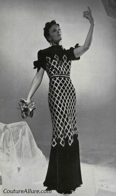 Nina Ricci black and gold velvet Evening Gown, 1938. Click through for more evening gowns.