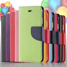 Hit Color Leather Card Slot Flip Case For Samsung Galaxy S6 G9200 / S6 Edge G9250 / S6 Edge Plus G928 Phone Cover Fashion Style
