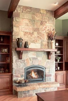 Cozy Natural Stone Fireplace