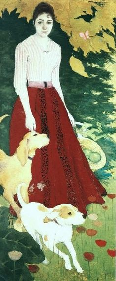 Artwork by Pierre Bonnard - Andrée Bonnard with her dogs - Pierre Bonnard, Pierre Auguste Cot, Edouard Vuillard, Figure Painting, Painting & Drawing, Avant Garde Artists, Post Impressionism, Cultural, Dog Art
