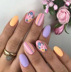Best Acrylic Nails, Cute Acrylic Nails, Acrylic Nail Designs, Cute Nails, Nail Art Designs, Nails Design, Flower Nail Designs, Nails With Flower Design, Easy Nails