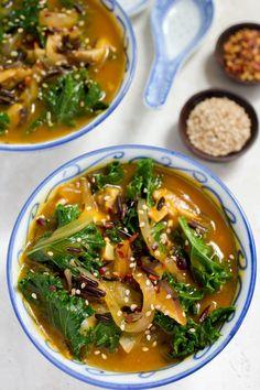 Shitake Mushroom Kale & Wild Rice Miso Soup by Parsley In My Teeth #vegan #vegetarian