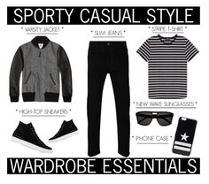 """""""Rugged Rascal - Sporty Casual Style"""" by latoyacl ❤ liked on Polyvore featuring Golden Bear, A.P.C., Gucci, Common Projects, Yves Saint Laurent, Givenchy, mens, men, men's wear and mens wear"""